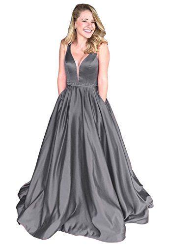 56fa9fcfabdfb Dressylady 2018 Elegant Sleeveless V Neck Satin Long Prom Dress Formal  Evening Gowns at Amazon Women s Clothing store