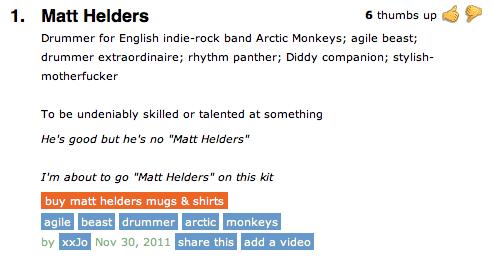 Matt Helders- Arctic Monkeys definition