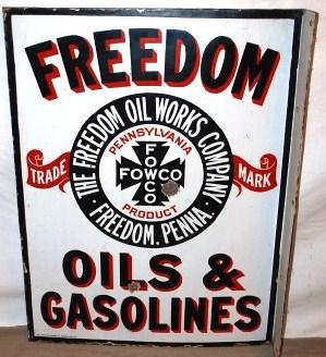 Freedom Oils Gasoline Porcelain Sign Porcelain Signs Porcelain Signs Oils Signs