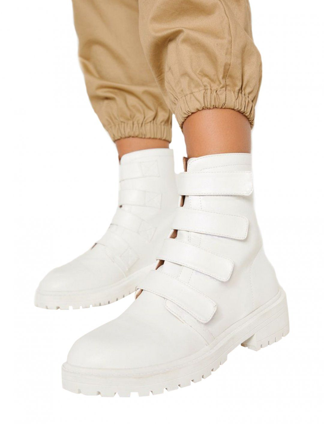 Yasmin Boots In White With Velcro Strap From Pretty Little Thing Blind Music Video Boots White Combat Boots Shoes Fashion Photography