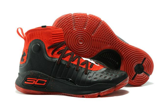 cce593197396 UA Stephen Curry 4 Black Red Basketball Shoe For Sale Big Boys Youth Jeunesse  Shoes