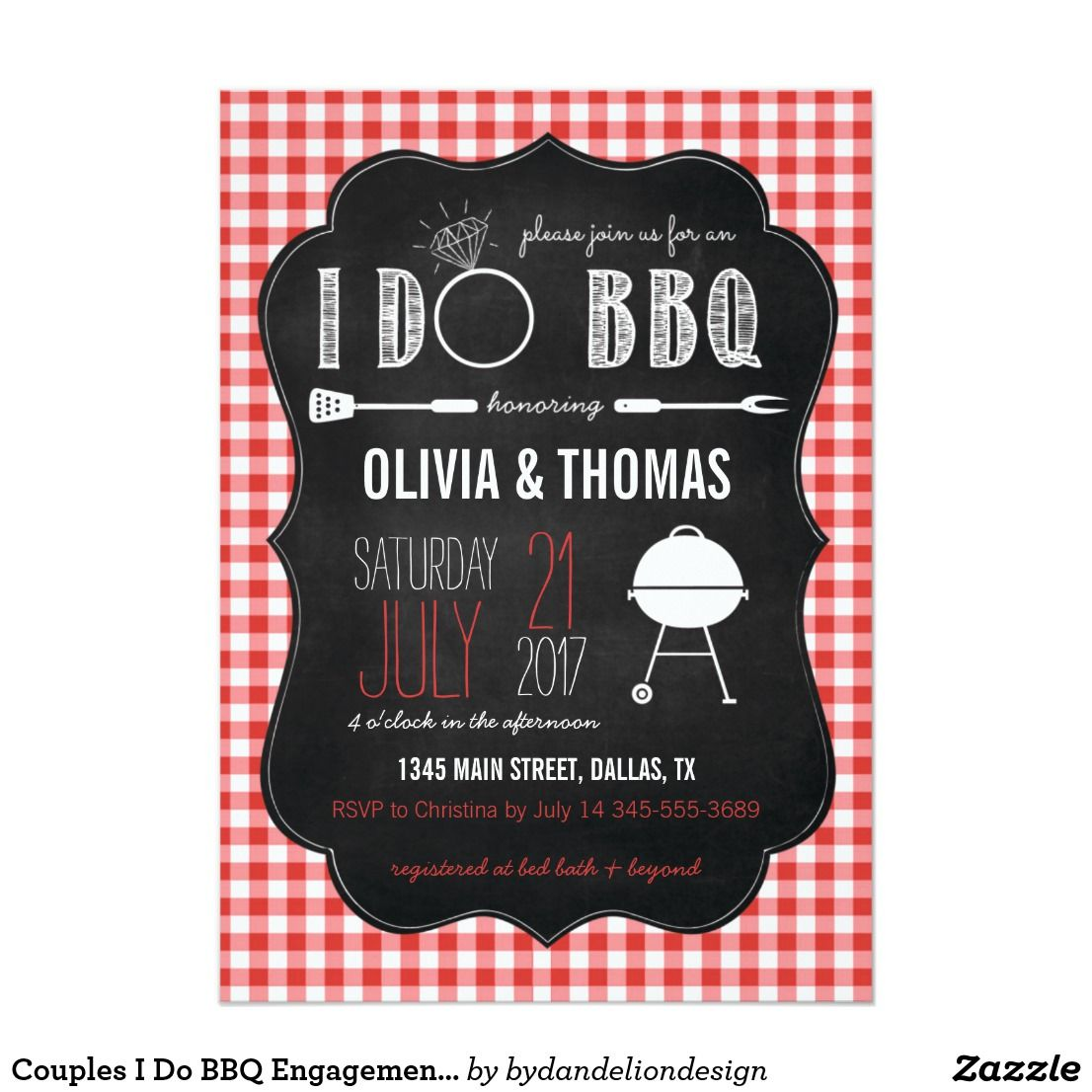 Couples I Do Bbq Engagement Shower Invitation Couples I Do Bbq