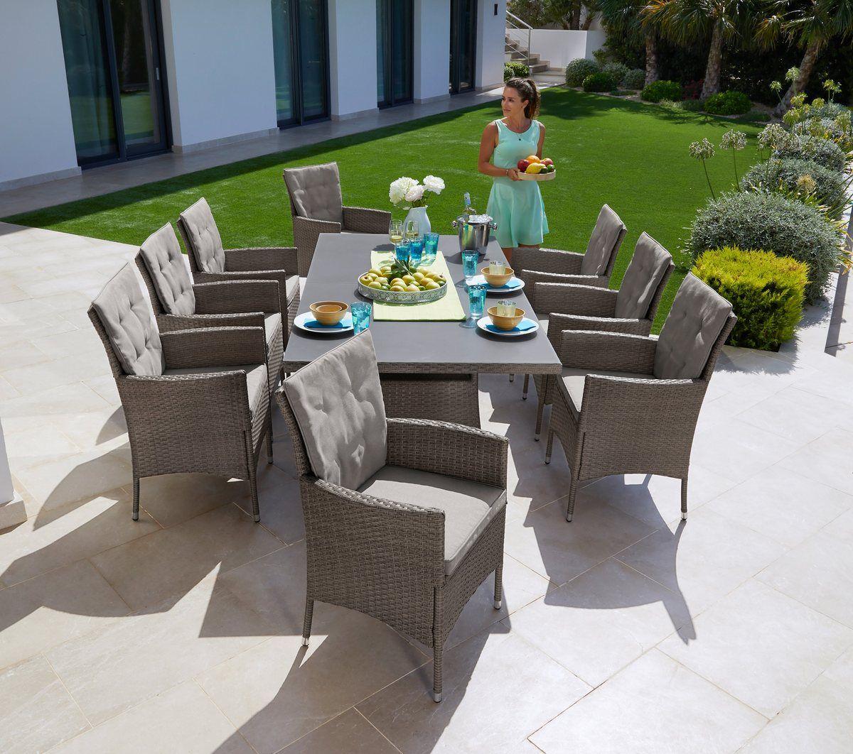 Gartenmobelset Mailand 25 Tlg 8 Sessel Tisch 200x100 Cm