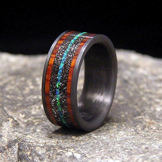 Meteorite Shavings Cocobolo Blue-Green Lab Opal Inlays ...