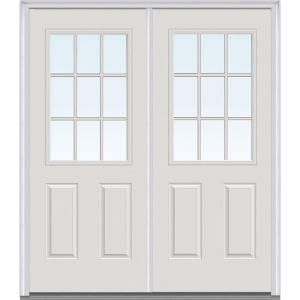 Perfect MMI Door 72 In. X 80 In. Tan Internal Grilles Left Hand Inswing 1/2 Lite  Clear Painted Fiberglass Smooth Prehung Front Door Z005045L   The Home Depot