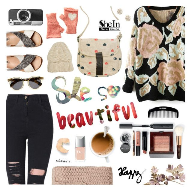 """""""Pretty Peach"""" by talukder ❤ liked on Polyvore featuring People Tree, Bobbi Brown Cosmetics, H&M, Christian Dior, Illesteva, Sole Society, Eugenia Kim, Wooden Ships and Casetify"""