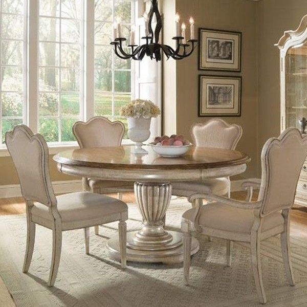 Art Furniture Provenance 5 Piece Round Dining Set In Distressed Brown And Ivory 176225 French Country Dining Room Round Dining Room Sets Round Dining Room