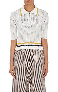Striped Cotton Flutter-Hem Polo Shirt