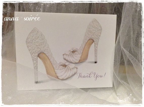 724d41f9de6eb LACE WEDDING SHOE Thank You Card - Personalized with Name, Thank you ...