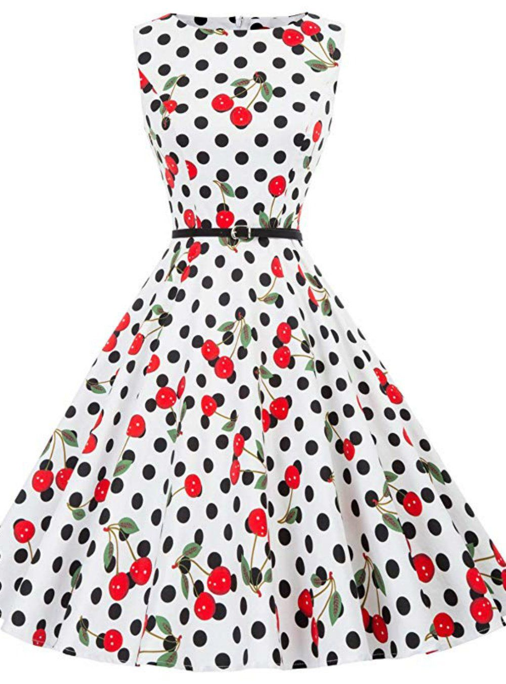 Women White Cherry Print Vintage Dress Vintage Tea Dress Vintage Short Dress Dresses [ 1350 x 1000 Pixel ]