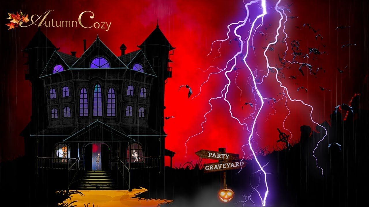 Will It Rain On Halloween 2020 👻HALLOWEEN AMBIENCE: Rain and Thunder Sounds, Halloween Sounds