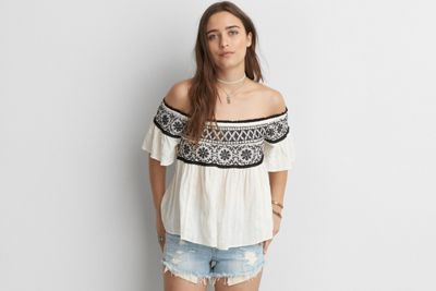 1c0e93ba80f32b AEO Embroidered Off-The-Shoulder Top by American Eagle Outfitte ...