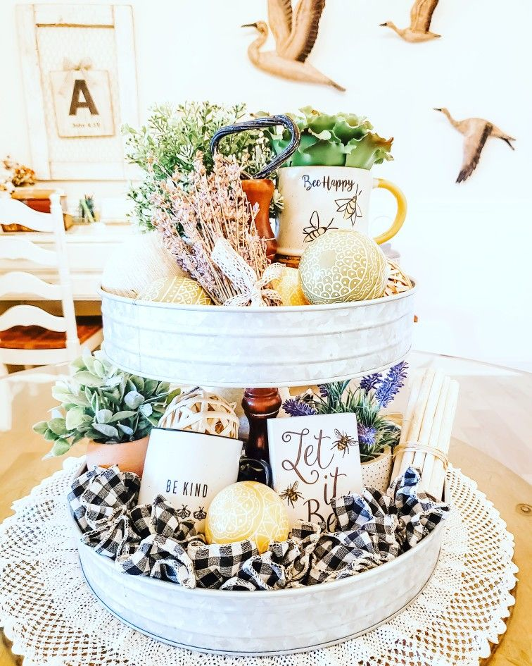Beautiful spring & summer decor inspiration for a tiered tray.