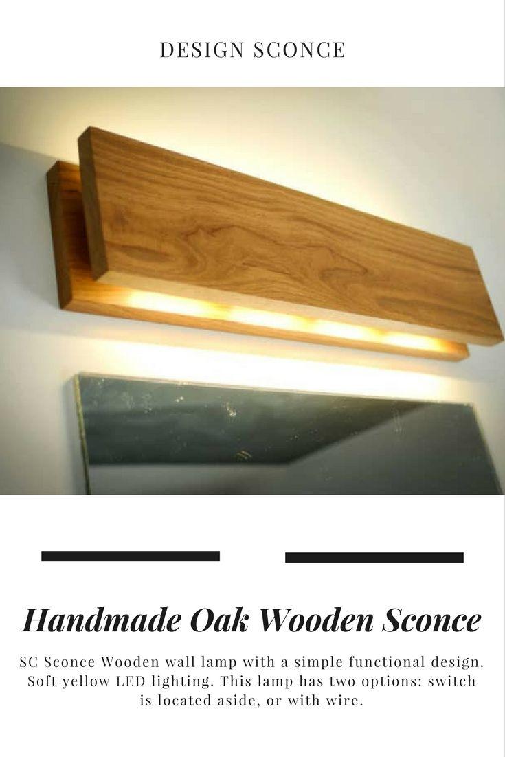 Handmade oak wooden sconce wooden walls walls and lights