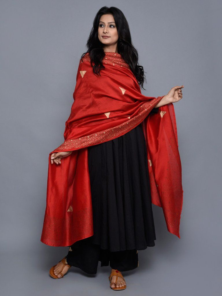 082bccb5f8b Red Golden Triangle Chanderi Dupatta