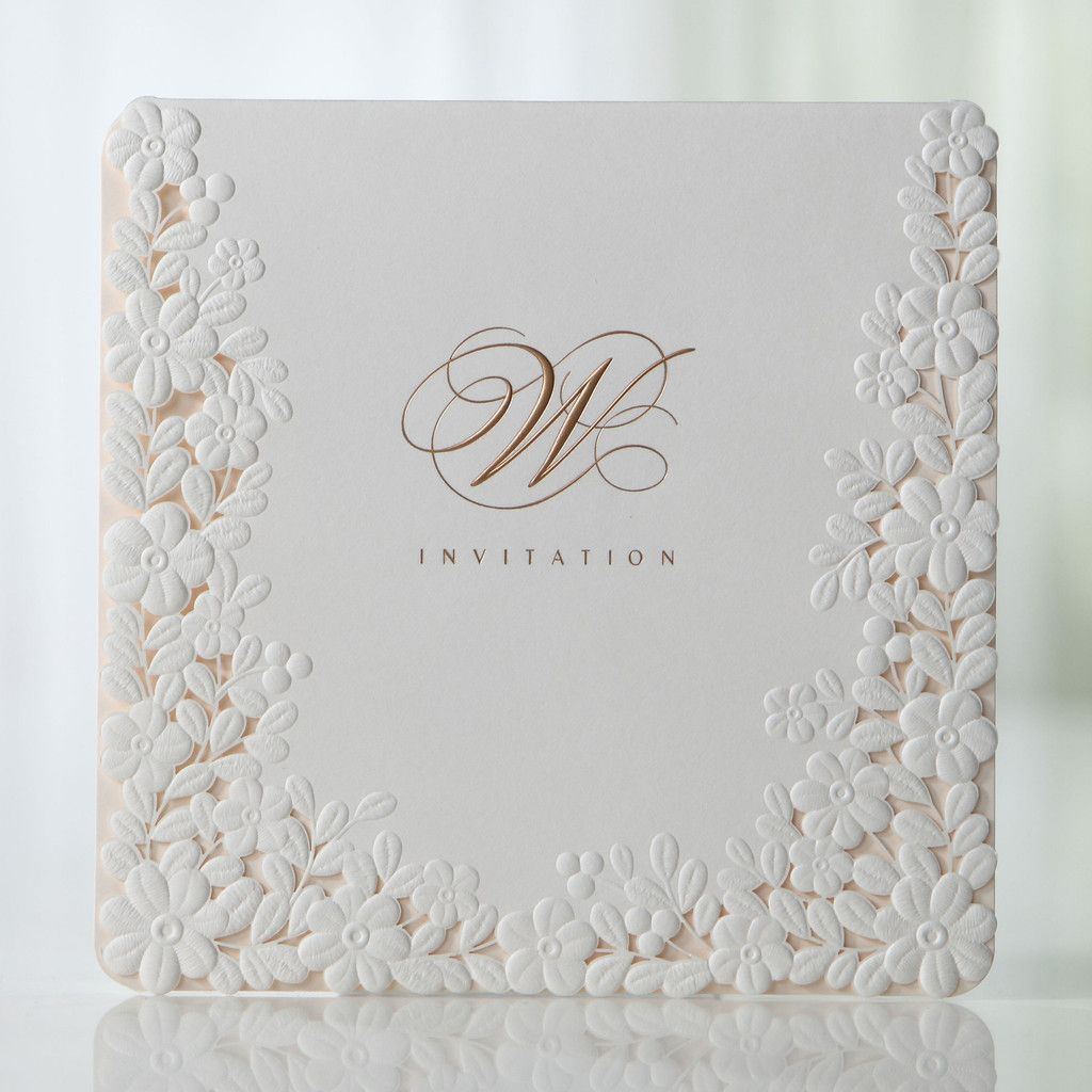 Ivory Pink Embossed Laser Cut Floral Wedding Invitations BH 3301 – Invitation Cards Invitation Cards