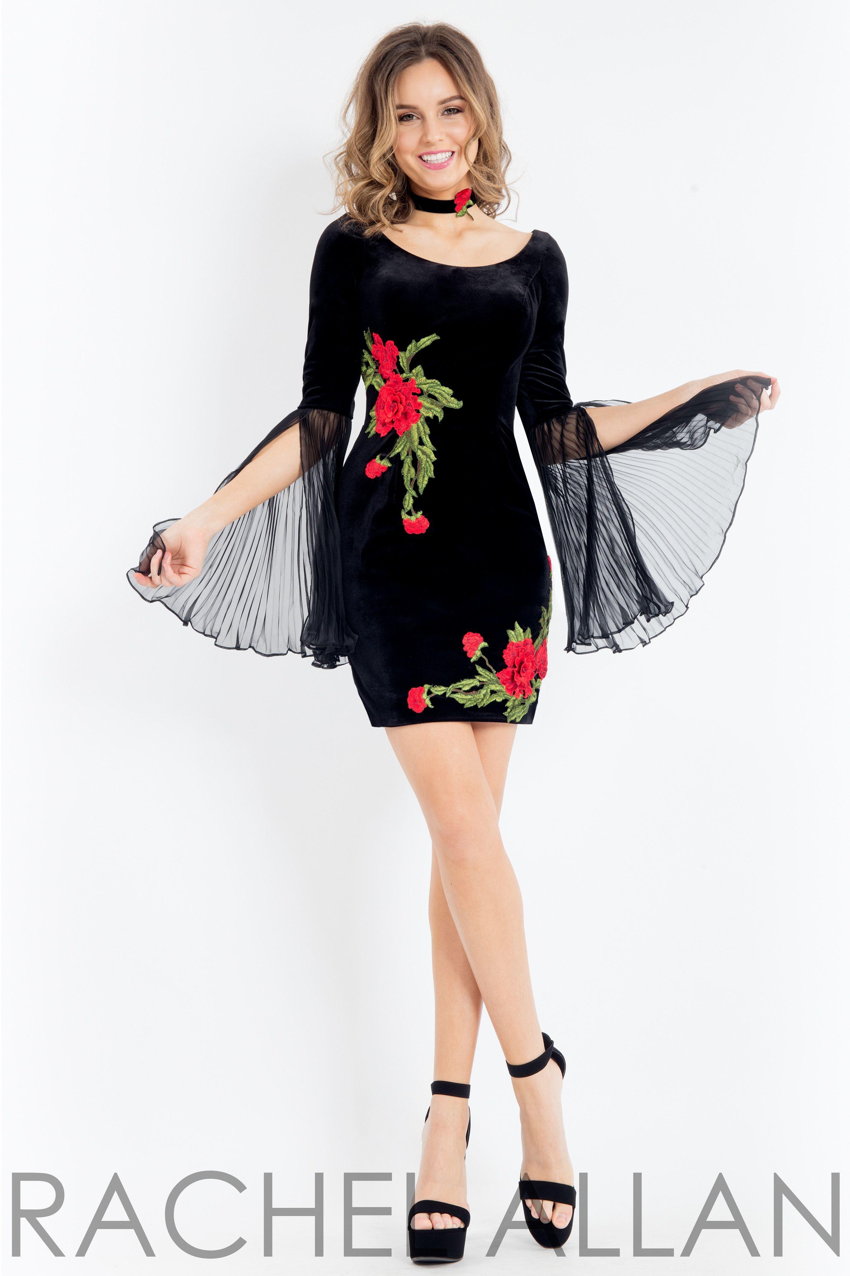 Rachel Allan 4475 Black Velvet Form Fitting Short Dress  9b152b8b6