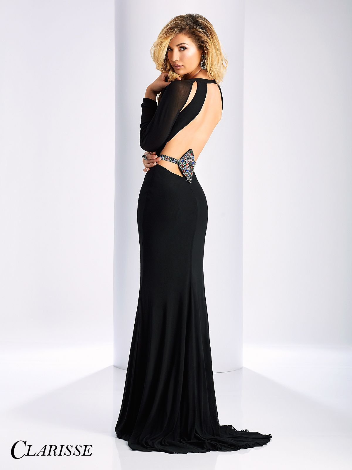 dcafe613593 Clarisse Prom Dress 3107. Long sleeve simple dress with cutouts