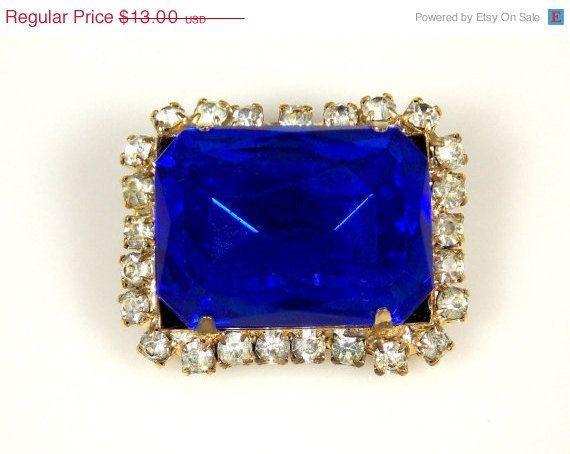 CIJ Sale Vintage Rectangular Cobalt Blue Glass Brooch Clear Rhinestone Accents