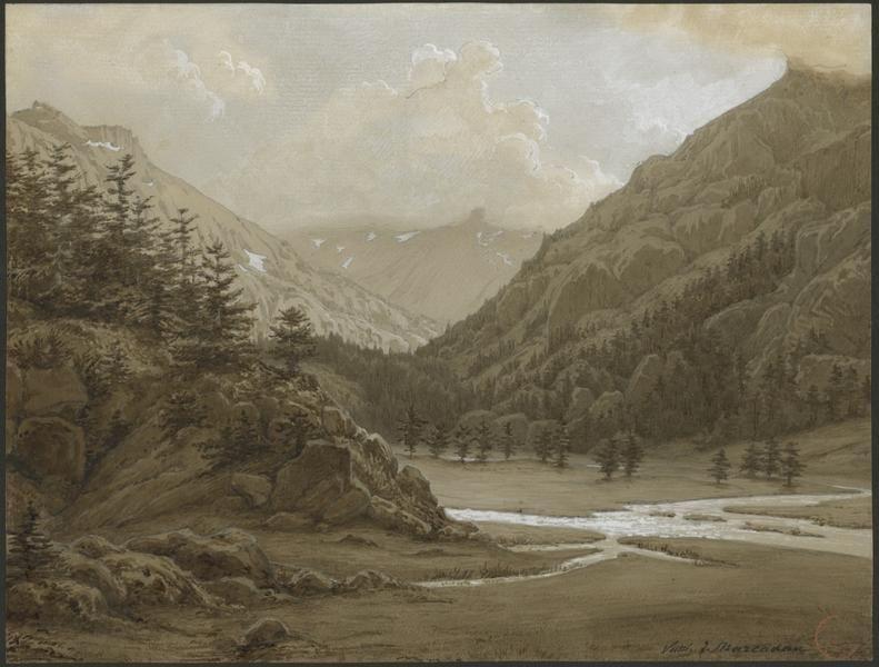 Eugène Viollet-le-Duc, vallée de Marcadau, 29 juillet 1833 Aquarelle Ministère de la Culture (France), Médiathèque de l'architecture et du patrimoine, dist. RMN