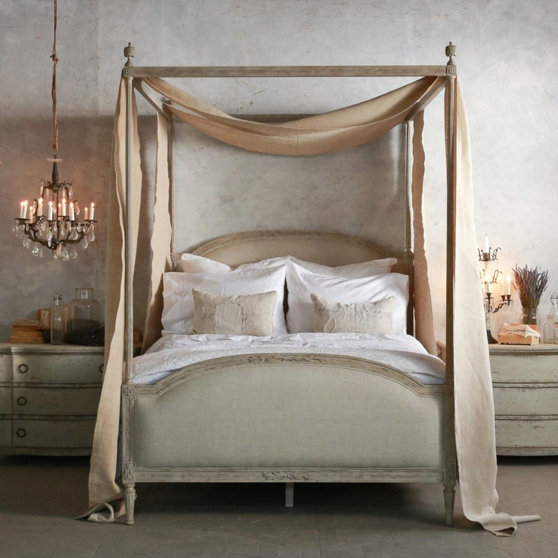 Minimalist Romantic Style Bedroom Decorating Ideas Featuring Eloquence Dauphine Beach