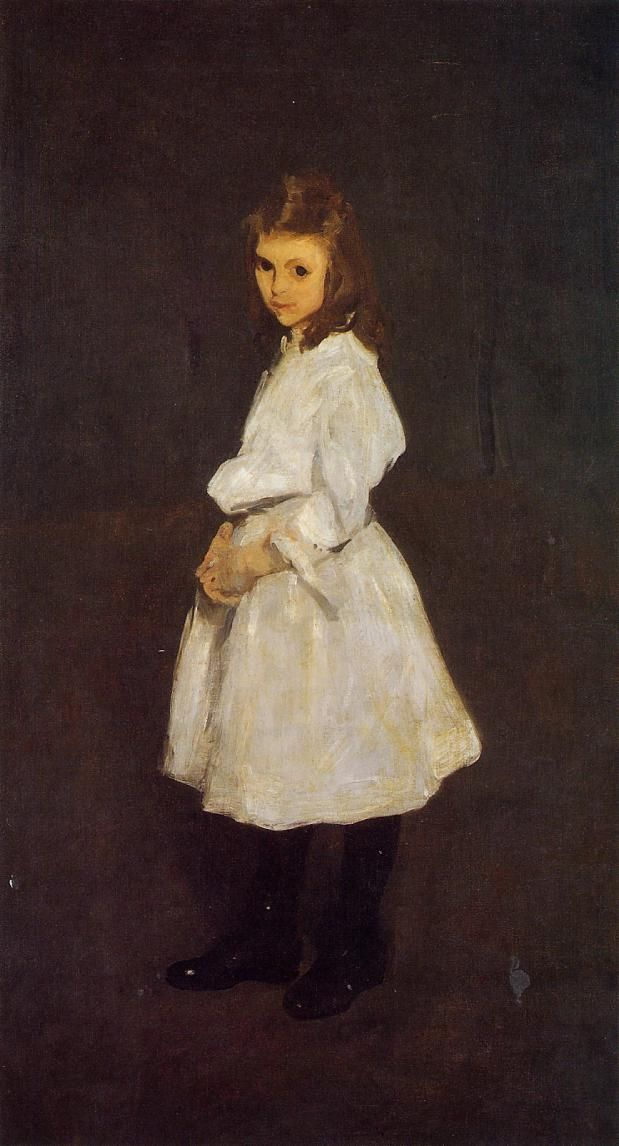 Little Girl in White (Queenie Barnett): 1907 by George Bellows (National Gallery of Art - Washington DC) - American Realism