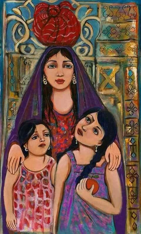 Nagham Saleh Egyptian Painting Arabian Art Cubist Art