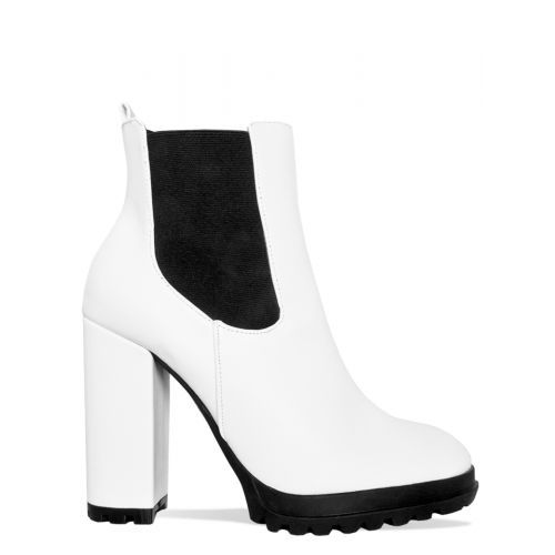 741a1056a728 Julia White Platform Block Heel Ankle Boots