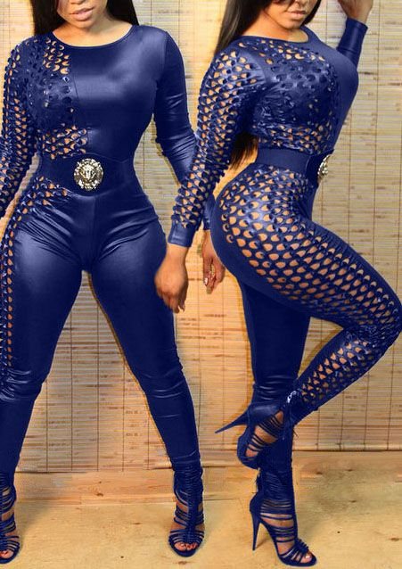 a2a3d1160180 Trendy O Neck Long Sleeves Patchwork Hollow-out Blue Spandex One-piece  Jumpsuits(Without Belt)