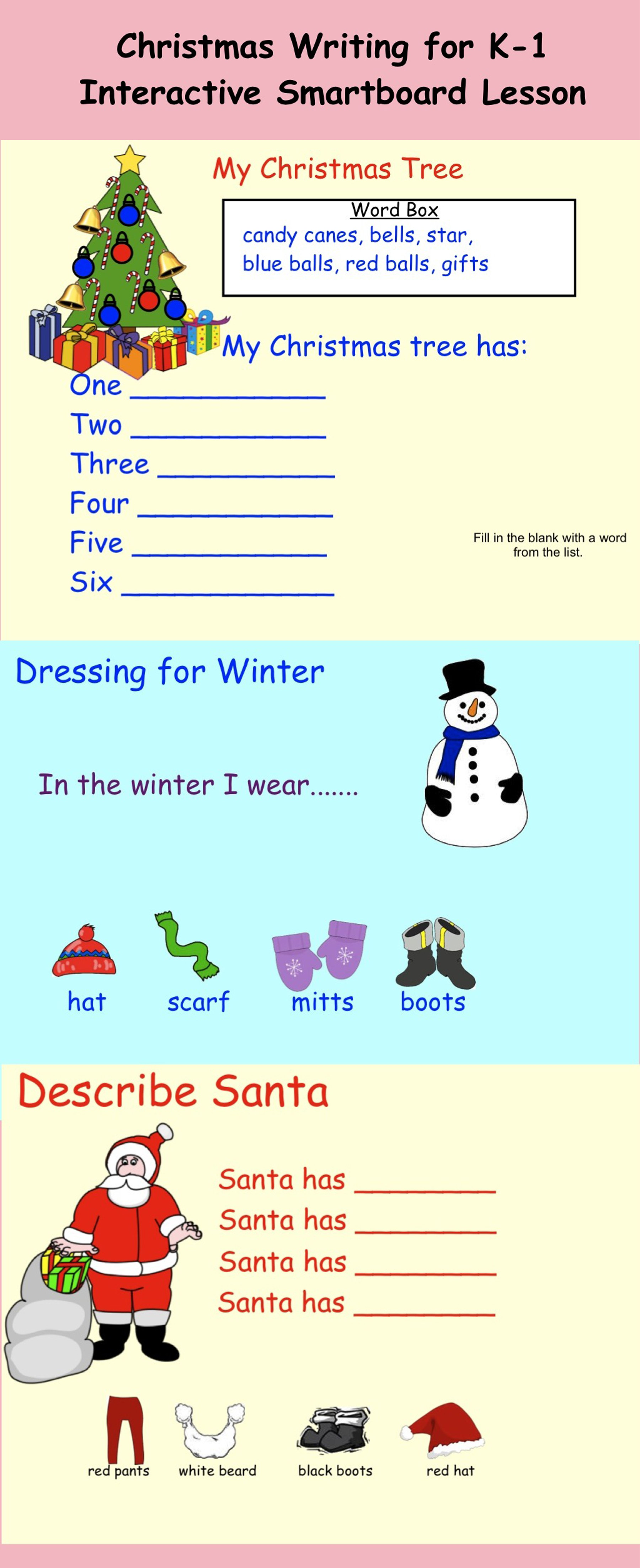Smartboard Christmas Writing Grade One