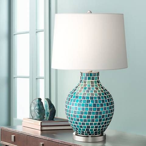 Teal blue glass mosaic jar table lamp style 2t937 teal blue teal blue glass mosaic jar table lamp 2t937 lamps plus mozeypictures Gallery