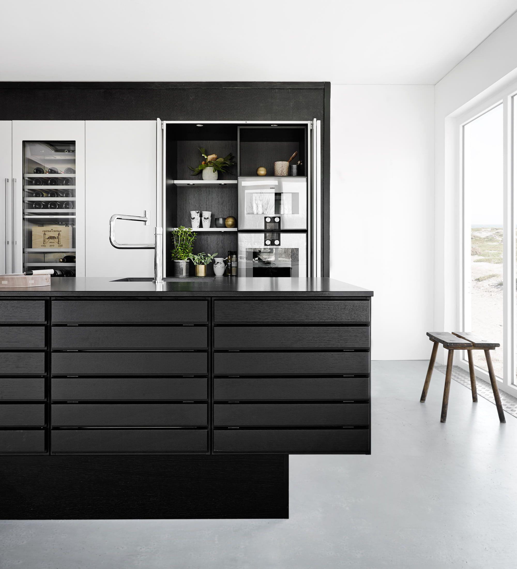 Insel, Kochinsel, Kücheninsel, Küche, Idee, Bild, Schwarz, Schwarze Küche