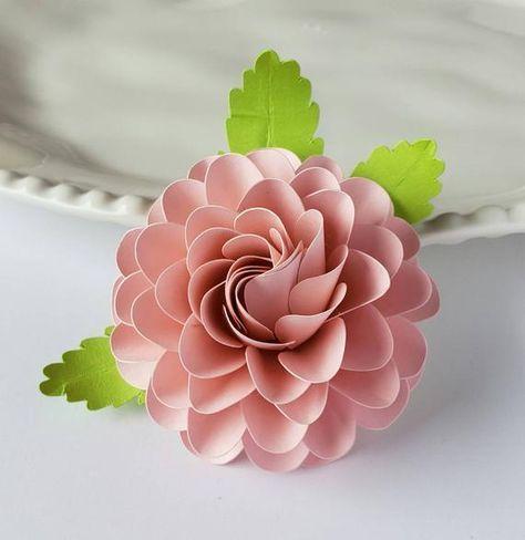 Easy Paper Flower Tutorial - Paper Flower Templates - Cricut - 3D Flowers - SVG - PDF - Small Flowers - Party Decor - Round Ball Dahlia