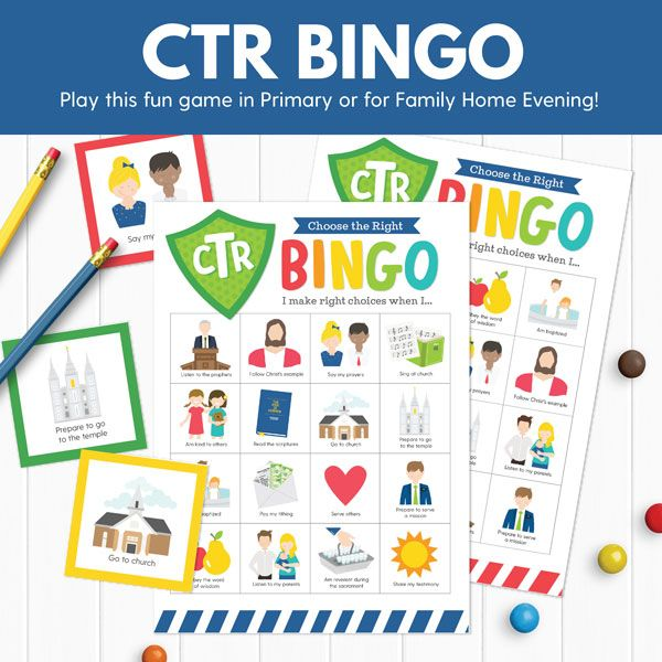 CTR Bingo - Perfect for Primary or Family Home Evening! (Primary 2 ...