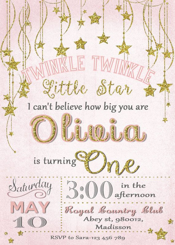 twinkle twinkle little star invitation digital printable invite