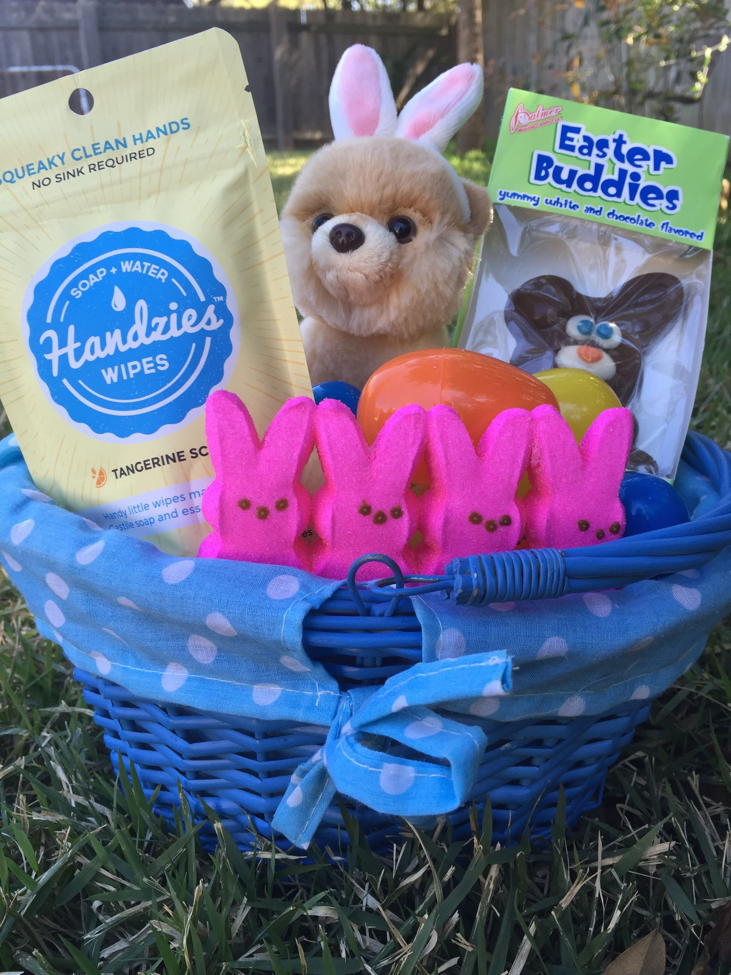 Awesome Easter baskets and sticky fingers!  Try stashing some Handzies in your baskets for cleaning up quick as a bunny!