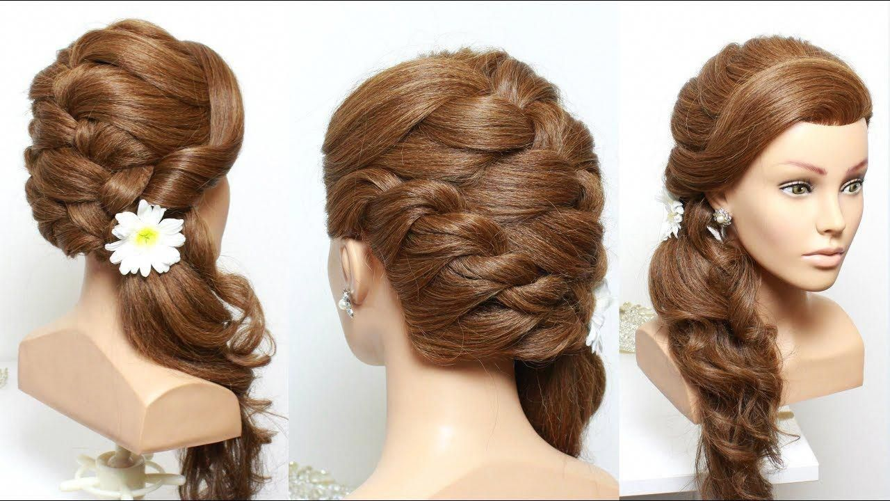 romantic bridal hairstyle for long hair tutorial with curls