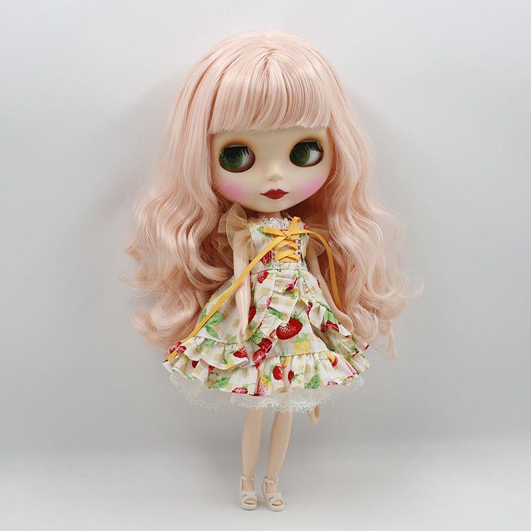 Blyth nude doll 30cm white skin Cute wild long curly hair
