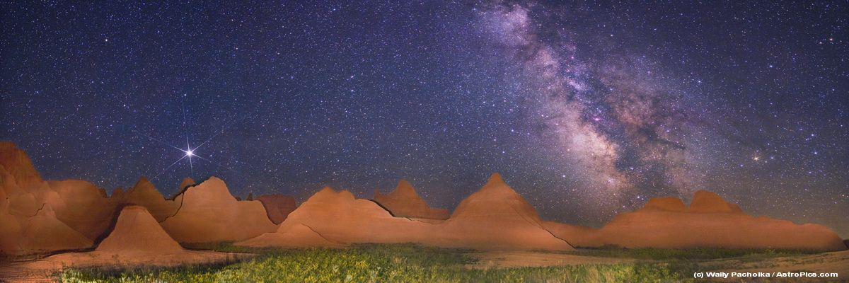 Milky Way and Badlands, picture stitched together digitally. Astronomy Picture of the Day Aug. 18, 2009