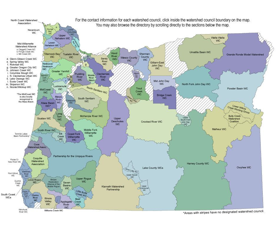Oregon Watershed Map Detailed