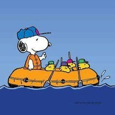 Snoopy, Woodstock, and friends on a raft.