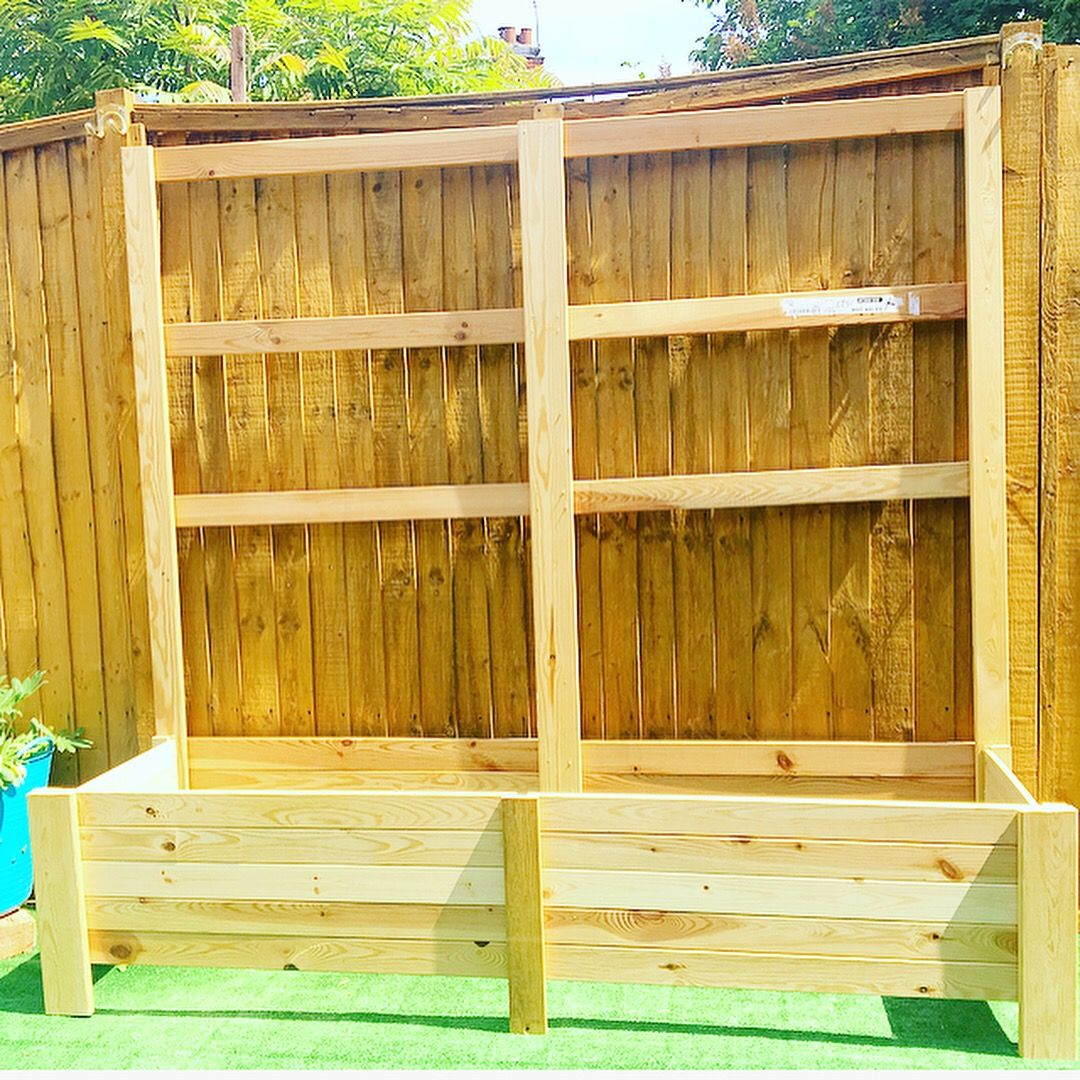 Homemade up planter made from dismantled bunk beds and bed