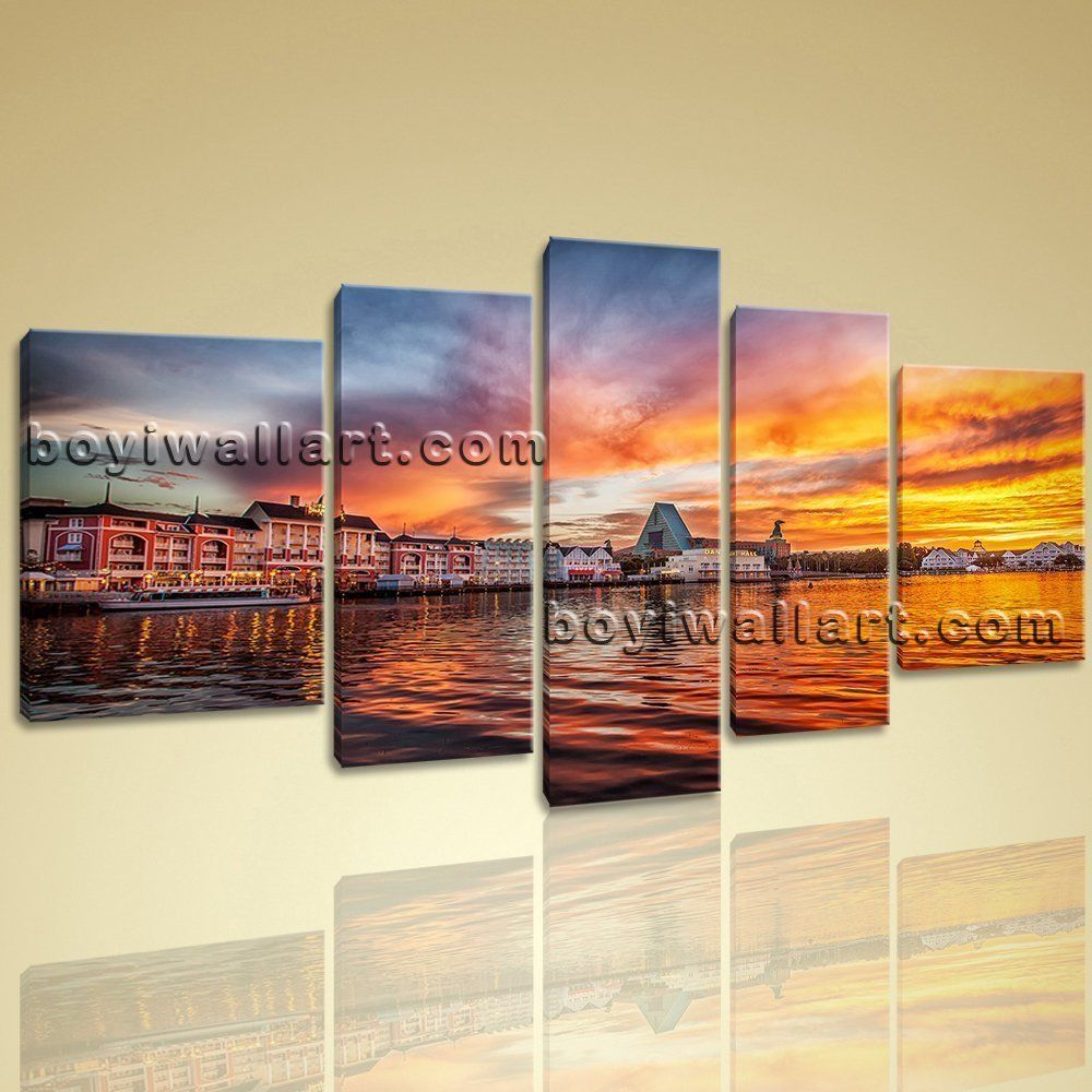 """Attractive Sunset Glow Hd Picture Print On Canvas Abstract Large Wall Art Mural, Extra Large Sunset Wall Art, Living Room, Tuscany. Attractive Sunset Glow Hd Picture Print On Canvas Abstract Large Wall Art Mural Subject : Sunset Style : Photography Panels : 5 Detail Size : 12""""x40""""x1,12""""x32""""x2,16""""x24""""x2 Overall Size : 72""""x40"""" = 183cm x 102cm Medium : Giclee Print On Canvas Condition : Brand New Frames : Gallery wrapped [FEATURES] Lightweight and easy to hang. High revolution giclee..."""