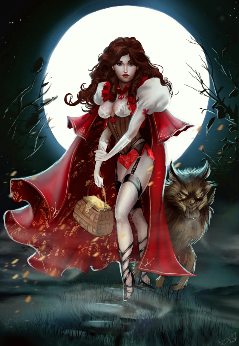 Red Riding Hood and the Big Bad Wolf (commission) by Forty