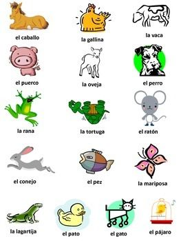 Spanish Vocabulary For Animals Spanish Vocabulary Spanish Language Learning Spanish Kids