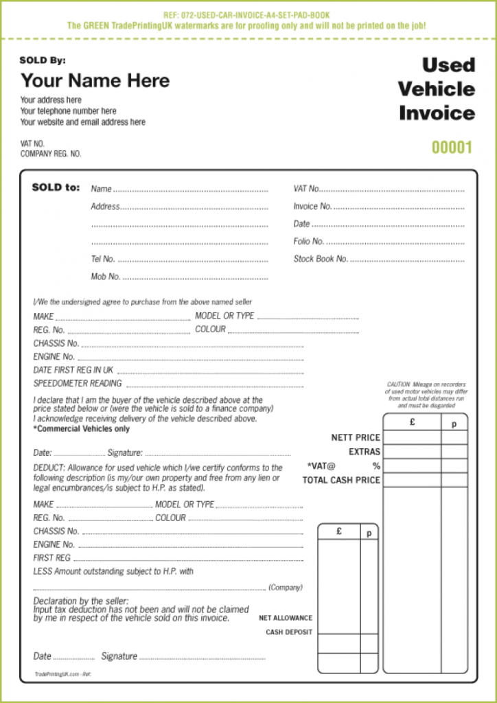 car invoice template download used car invoice template uk