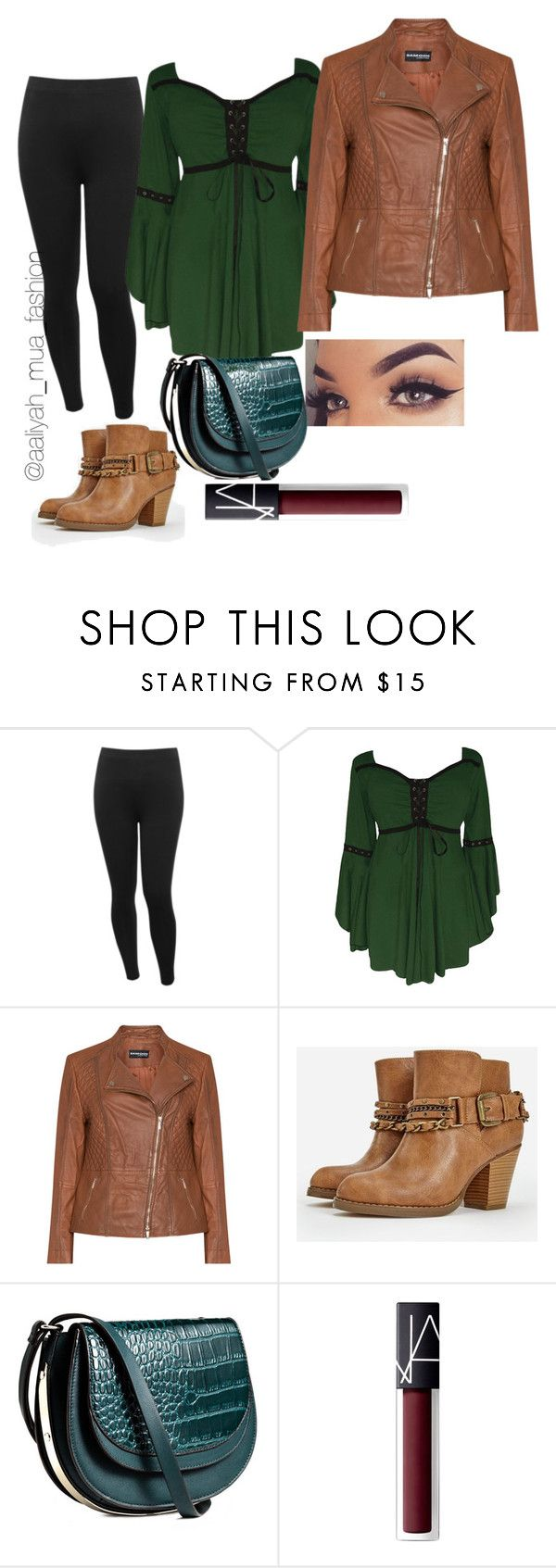 """""""Fall plus size outfit"""" by prrpaola on Polyvore featuring M&Co, Samoon, JustFab, NARS Cosmetics and plus size clothing"""