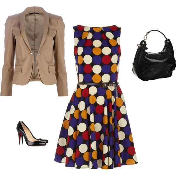 polka dot dress, created by margitina on Polyvore