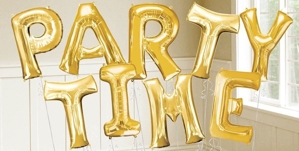 gold letters/numbers at party city, 36 inches, $10 a pop! | party