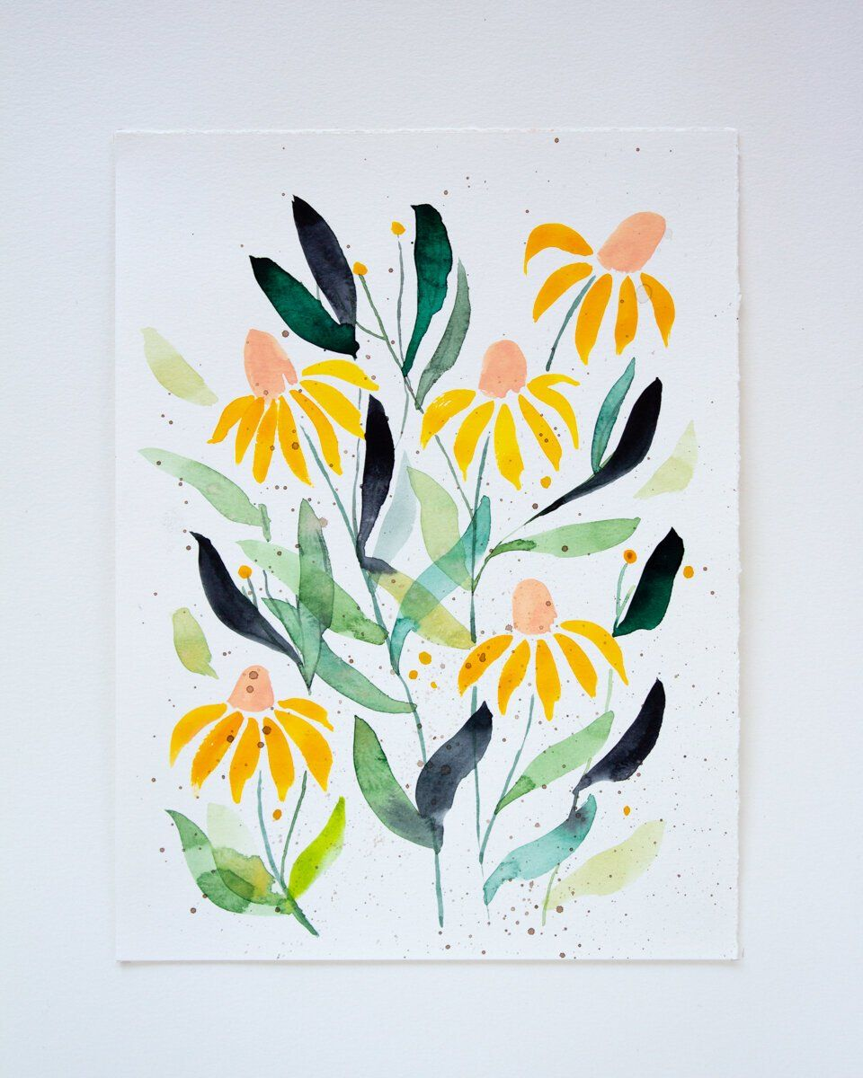 """Coneflowers dance amid speckled pollen — a true sign of spring in the air. PAINTING DETAILS """"Coneflower"""" is an unframed 9""""x12"""" original painting on cold-press watercolor paper. Painting dimensions: 9"""" wide x 12"""" high Medium: Watercolor + gouache Substrate: 140 lb cold-press watercolor paper This painting has been signed and dated on the back by the artist. FRAMING I've partnered with Framebridge to offer framing coordination! I'll do all the work for you so that you receive your new painting fra"""